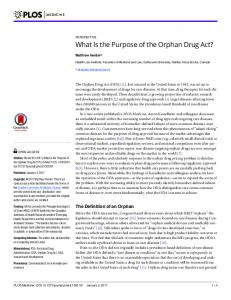 What Is the Purpose of the Orphan Drug Act? - PLOS