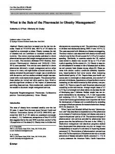 What is the Role of the Pharmacist in Obesity Management?