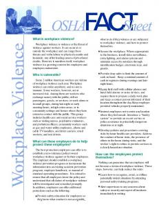 What is workplace violence? Who is vulnerable? What can ... - OSHA