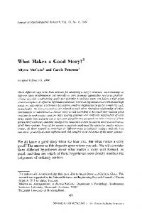 What makes a good story - Springer Link