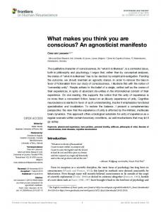 What makes you think you are conscious? An