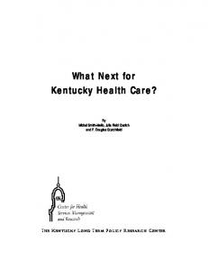 What Next for Kentucky Health Care? - Kentucky Department for ...