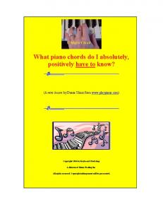 What piano chords do I absolutely, positively have to know