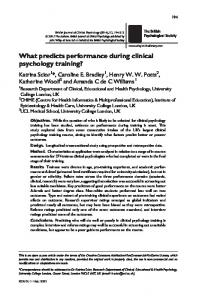 What predicts performance during clinical psychology training?