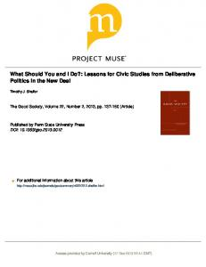 What Should You and I Do?: Lessons for Civic ...