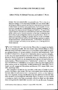 WHAT STAKEHOLDER THEORY IS NOT Robert Phillips, R. Edward ...
