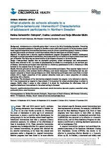 What students do schools allocate to a cognitive ... - DiVA portal