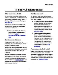 What to do if you Bounce a Check - Washington LawHelp