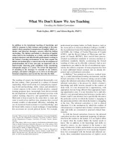 What We Don't Know We Are Teaching