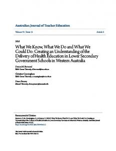 What We Know, What We Do and What We Could ... - Research Online
