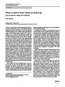 What we need to know, where we need to go - European Review of ...
