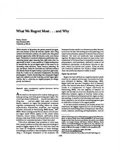 What We Regret Most . . . and Why - Semantic Scholar
