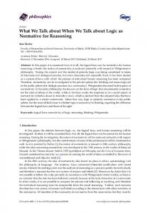 What We Talk about When We Talk about Logic as Normative ... - MDPI
