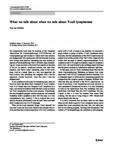 What we talk about when we talk about T-cell ...