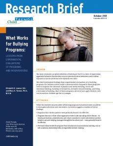 What Works for Bullying Programs: