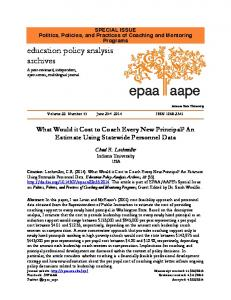 What Would It Cost to Coach Every New Principal? An Estimate Using ...