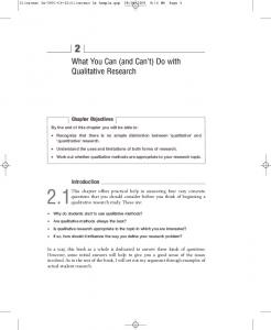 What You Can (and Can't) Do with Qualitative Research - Sage