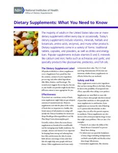 What You Need to Know - Office of Dietary Supplements - National ...
