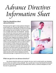 What You Should Know About Advance Directives Everyone has the ...