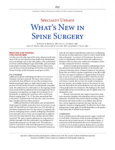 What's New in Spine Surgery