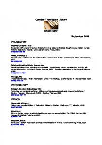 What's New list, click here (850k PDF). - Camden Theological Library