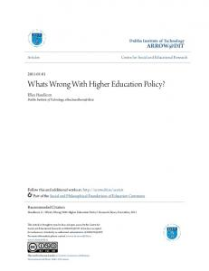 Whats Wrong With Higher Education Policy?