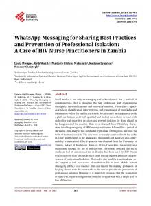 WhatsApp Messaging for Sharing Best Practices and Prevention of ...