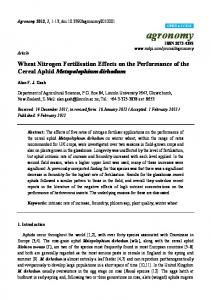 Wheat Nitrogen Fertilisation Effects on the Performance of the ... - MDPI