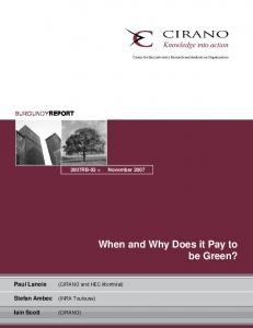 When and Why Does it Pay to be Green? - CIRANO