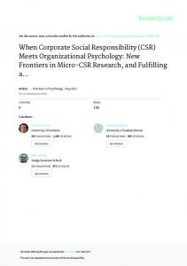 When Corporate Social Responsibility (CSR)