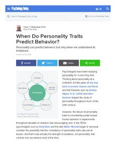 When Do Personality Traits Predict Behavior?