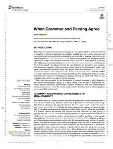 When Grammar and Parsing Agree