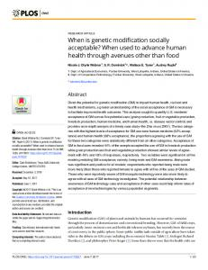 When is genetic modification socially acceptable? When used ... - PLOS