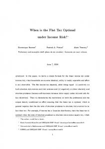 When is the Flat Tax Optimal under Income Risk?