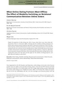 When Online Dating Partners Meet Offline: The ... - Wiley Online Library