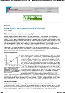 When Should an Internal Standard Be Used?