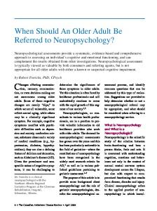 When Should An Older Adult Be Referred to Neuropsychology?