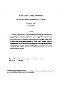 When Should Control Be Shared? - Stanford University