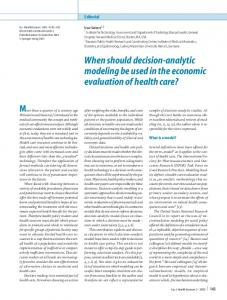 When should decision-analytic modeling be used in ... - Springer Link