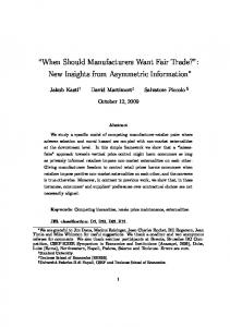 When Should Manufacturers Want Fair Trade? - Princeton University
