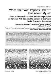 When the ''We'' Impacts How ''I'' Feel About Myself