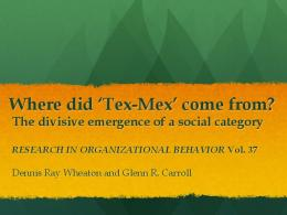 Where did 'Tex-Mex' come from?
