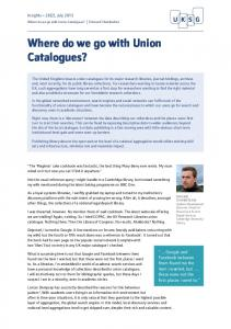 Where do we go with Union Catalogues? - UKSG Insights