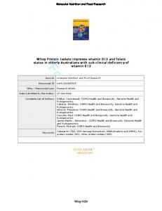 Whey Protein Isolate improves vitamin B12 and