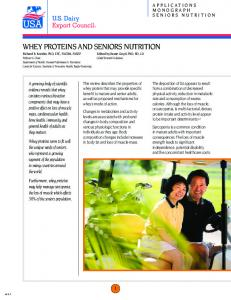 Whey Proteins and Senior Nutrition - Whey Protein Institute