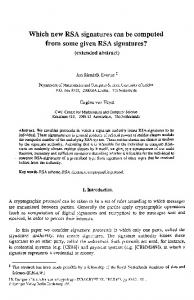 Which new RSA signatures can be computed from ... - Springer Link