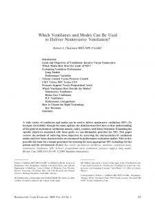 Which Ventilators and Modes Can Be Used to ... - Semantic Scholar