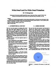 White Dwarf and Pre-White Dwarf Pulsations - UT-Austin Astronomy
