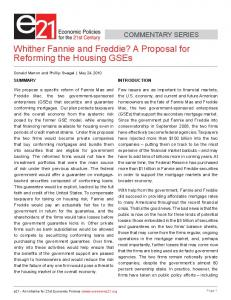 Whither Fannie and Freddie? - Economics21