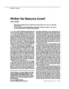 Whither the Resource Curse? - University of Pittsburgh